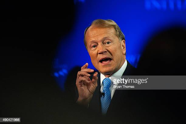 Cisco's Executive Chairman of the Board John Chambers speaks with CNBC's Becky Quick during the Clinton Global Initiative Annual Meeting at the...