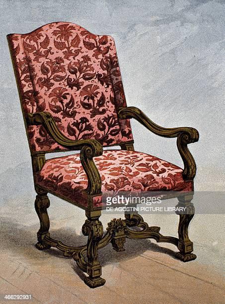 Cisele velvet armchair 17th century illustration from the Dictionnaire de l'ameublement et de la decoration XIIIth depuis le siecle jusqu'a nos jours...