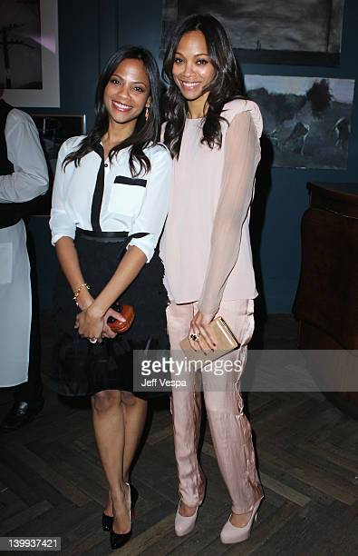Cisely Saldana and Actress Zoe Saldana attends The Weinstein Company Celebrates The 2012 Academy Awards Presented By Chopard held at Soho House on...