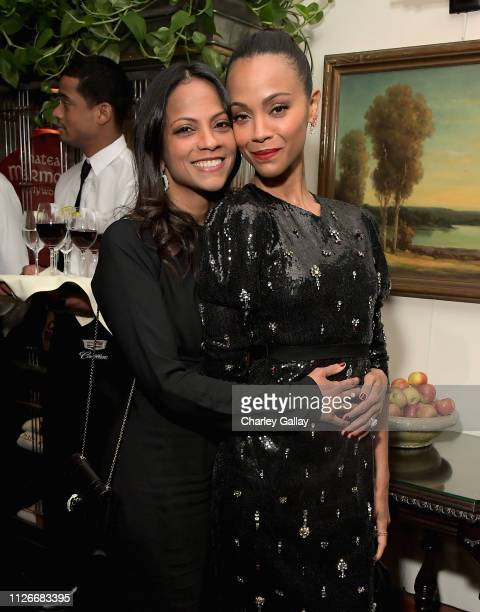 Cisely Saldana and Zoe Saldana attend the Cadillac Oscar Week Celebration at Chateau Marmont on February 21 2019 in Los Angeles California