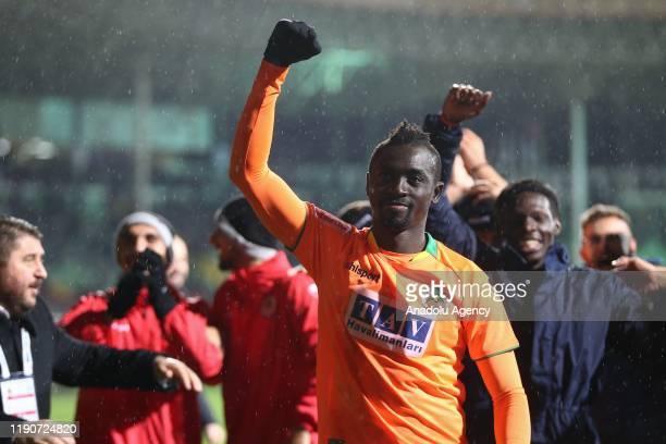 Cisse of Aytemiz Alanyaspor celebrates after scoring a goal during the Turkish Super Lig soccer match between Aytemiz Alanyaspor and Ittifak Holding...