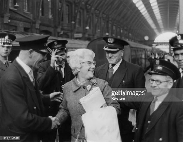 Cissie Charlton the mother of England footballers Jack and Bobby Charlton arrives at King's Cross Station in London from Newcastle to watch her sons...