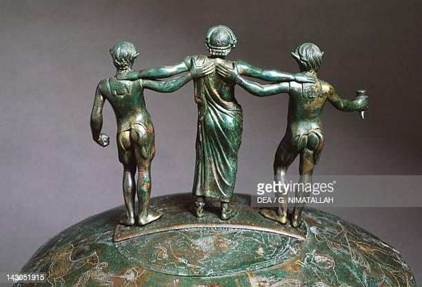 Cista Ficoroni , detail of the handle. Bronze artefact from Preneste , found by Francesco de' Ficoroni. Etruscan civilization, 4th Century BC. Rome,...