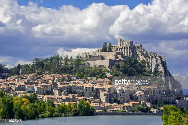 Citadel and the city Sisteron on the banks of the River Durance, Provence-Alpes-Cote d'Azur, Alpes-de-Haute-Provence, France.