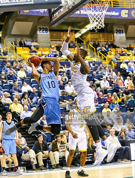 Citadel Bulldogs guard Leandro Allende looks to pass the ball during the second half of the NCAA basketball game between The Citadel Bulldogs and the...