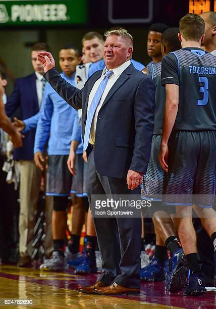 Citadel Bulldogs Head Coach Duggar Baucom reacts to an call by the referees during the first half of an NCAA basketball game between the Citadel...