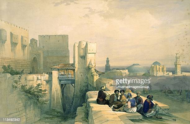 Citadel of Jerusalem April 19 1841 Handcoloured lithograph by Louis Haghe after the painting by David Roberts Scottish painter Palestine Orientalist...