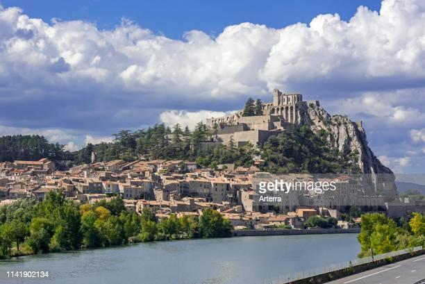Citadel of the city Sisteron on the banks of the River Durance, Provence-Alpes-Cote d'Azur, Alpes-de-Haute-Provence, France.