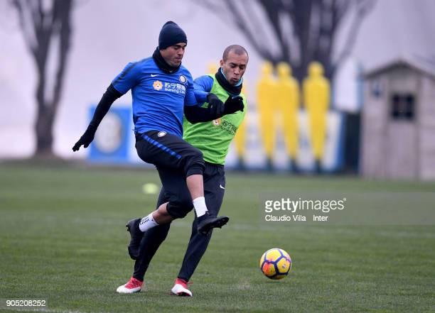 Citadin Martins Eder and Joao Miranda de Souza Filho of FC Internazionale compete for the ball during the FC Internazionale training session at...