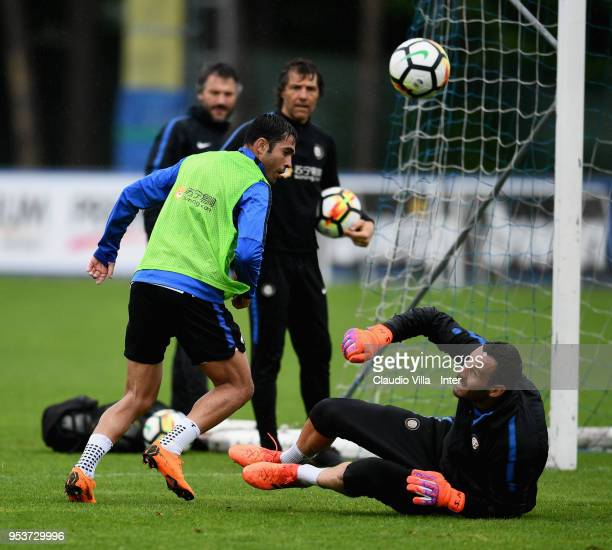 Citadin Martins Eder and Samir Handanovic of FC Internazionale compete for the ball during the FC Internazionale training session at the club's...
