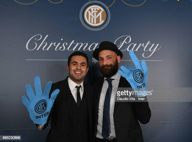 Citadin Martins Eder and Tommaso Berni of FC Internazionale pose for a photo during a FC Internazionale Christmas Party on December 18 2017 in Milan...