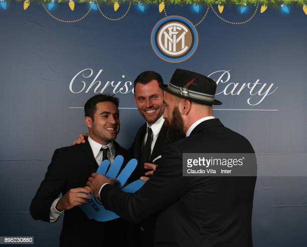 Citadin Martins Eder Daniele Padelli and Tommaso Berni of FC Internazionale pose for a photo during a FC Internazionale Christmas Party on December...