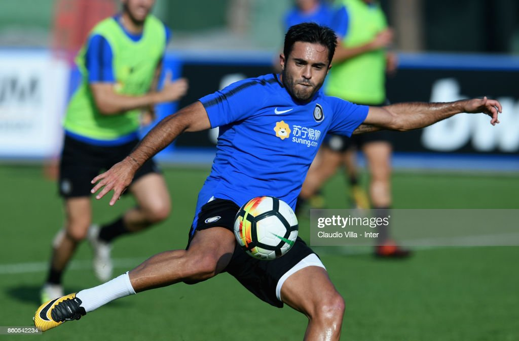 Citadin Martins Eder of FC Internazionale in action during the training session at Suning Training Center at Appiano Gentile on October 12, 2017 in Como, Italy.