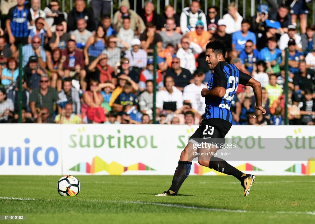 Citadin Martins Eder of FC Internazionale scores the goal during the Pre-Season Friendly match between FC Internazionale and Nurnberg on July 15, 2017 in Bruneck, Italy.