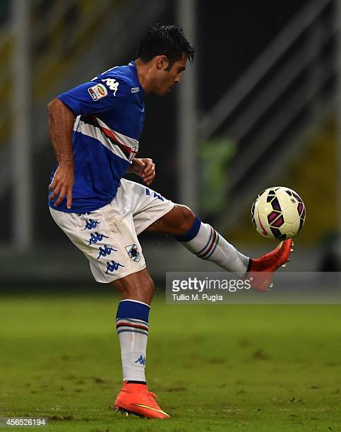 Citadin Martins Eder of Sampdoria in action during the Serie A match between US Citta di Palermo and UC Sampdoria at Stadio Renzo Barbera on August...