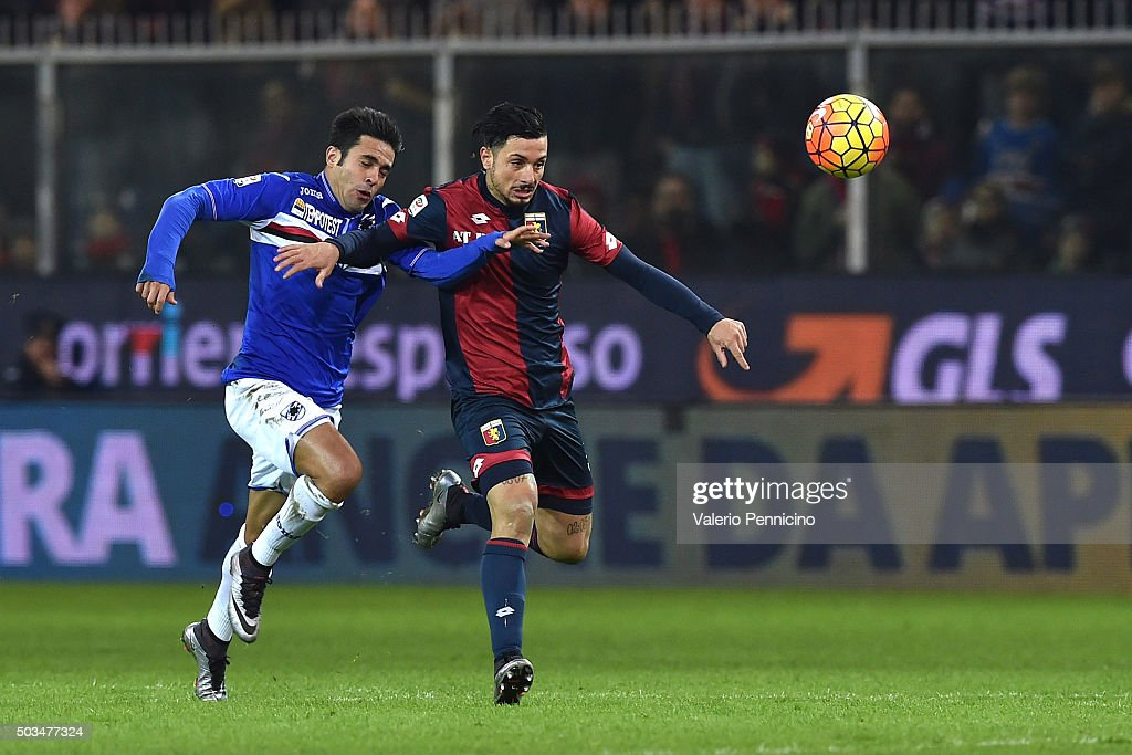 Citadin Martins Eder (L) of UC Sampdoria competes with Armando Izzo of Genoa CFC during the Serie A match between Genoa CFC and UC Sampdoria at Stadio Luigi Ferraris on January 5, 2016 in Genoa, Italy.