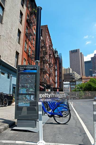 Citi bicicleta de bicicletas compartidas de estación, Tribeca, Manhattan, ciudad de Nueva York