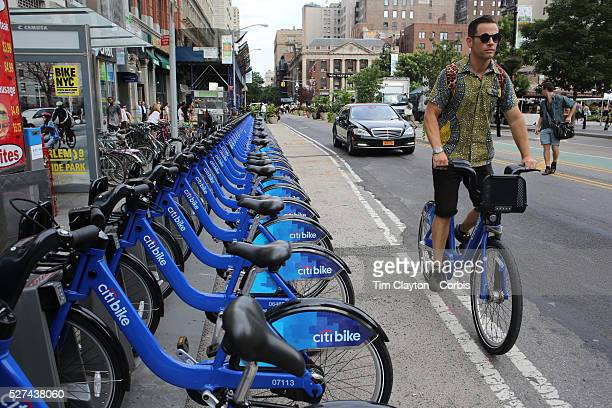 A Citi Bike docking station in Union Square Manhattan New York Citi Bike the NYC Bicycle Share Program sponsored by Citi Bank launched in late May...