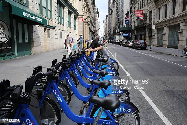 A Citi Bike docking station Manhattan New York Citi Bike the NYC Bicycle Share Program sponsored by Citi Bank launched in late May 2013 giving access...