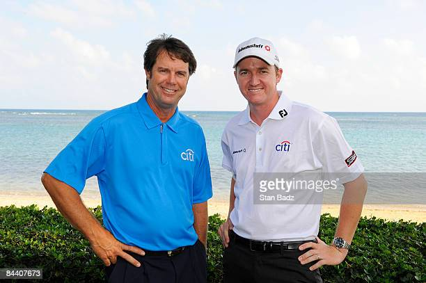 Citi Mentor Program Golfers Paul Azinger and Jimmy Walker pose for the Citi /Golf Channel Sony Open golf shoot in Hawaii held at Waialae Country Club...