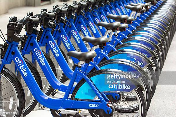 citibike rack in new york city - citigroup stock pictures, royalty-free photos & images