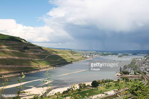 Cities of Bingen and Rudesheim at river Rhine