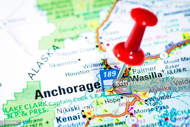 us cities on map series: anchorage, alaska - alaska us state stock pictures, royalty-free photos & images