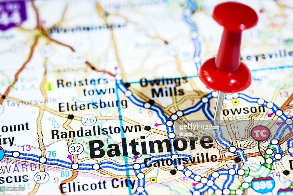 Us Cities On Map Series Baltimore Maryland Stock Photo Getty Images - Us map maryland