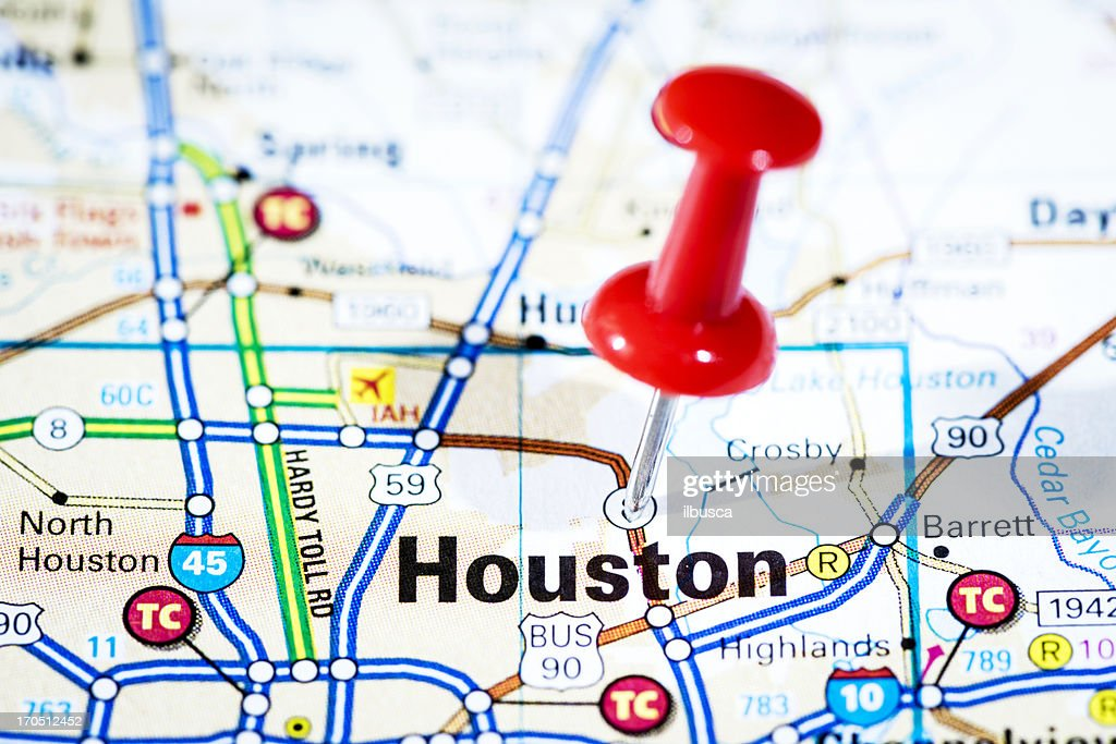 Us Cities On Map Series Houston Texas Stock Photo Getty Images - Us map houston
