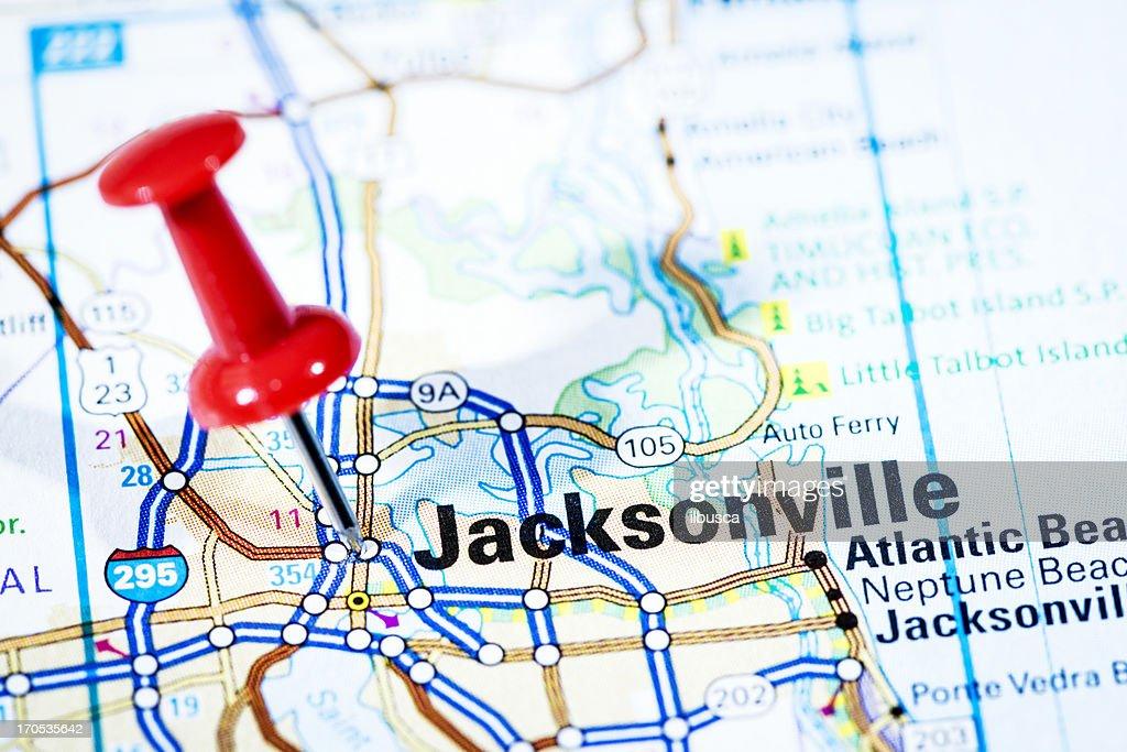 Uns Städte Auf Karteserie Jacksonville Florida Stock-Foto ...