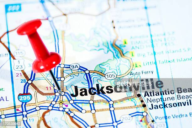 us cities on map series: jacksonville, florida - north carolina us state stock pictures, royalty-free photos & images