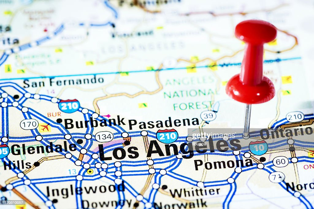 Us Cities On Map Series Los Angeles California Stock Photo Getty