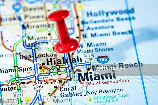US cities on map series: Miami, Florida