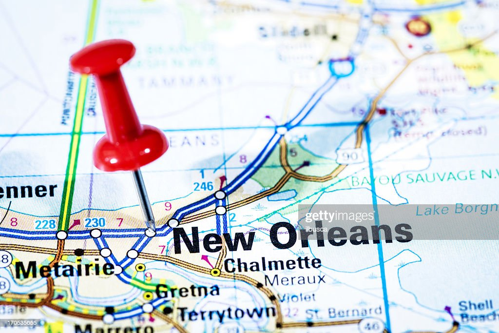 Louisiana New Orleans Map.Us Cities On Map Series New Orleans Louisiana Stock Photo Getty Images