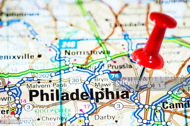 us cities on map series: philadelphia, pennsylvania - philadelphia pennsylvania stock pictures, royalty-free photos & images