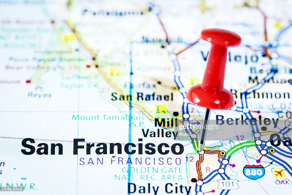 Us Cities On Map Series San Francisco California Stock Photo - San francisco map us