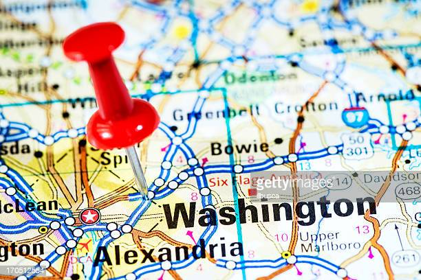 US cities on map series: Washington, D.C.