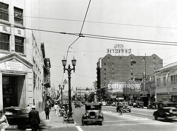 circa 1930's A busy scene in Hollywood Boulevard Hollywood Los Angeles California