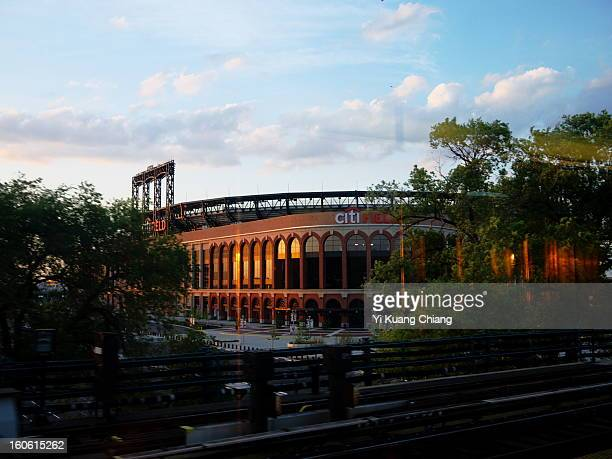 Citifield stadium located Flushing Meadows/Corona Park, home of the MLB New york Mets, shot made on train 7 during sunset.