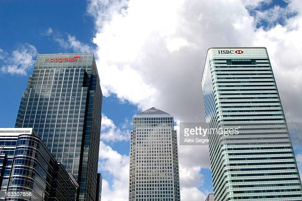 Citigroup and HSBC skyscraper office blocks in Canary Wharf, Docklands