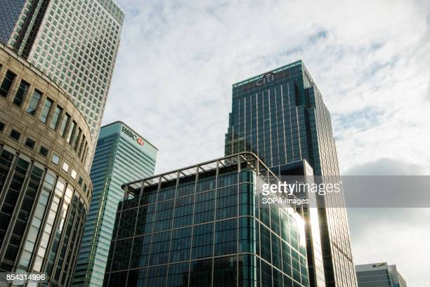 Citigroup Centre, right and HSBC headquarters, left, from Reuters Square. Stands in the Canary Wharf financial, business and shopping district in...