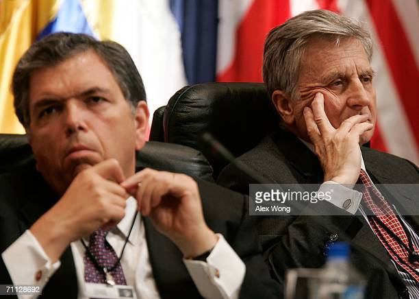 Citigroup Inc. Chairman and CEO Charles Prince and European Central Bank President Jean-Claude Trichet attend a central bankers panel discussion at...