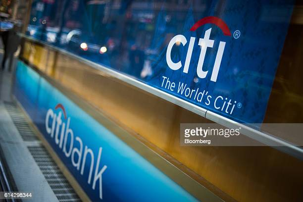 Citigroup Inc signage is displayed at a bank branch in New York US on Friday Oct 7 2016 Citigroup Inc is scheduled to release earnings figures on...