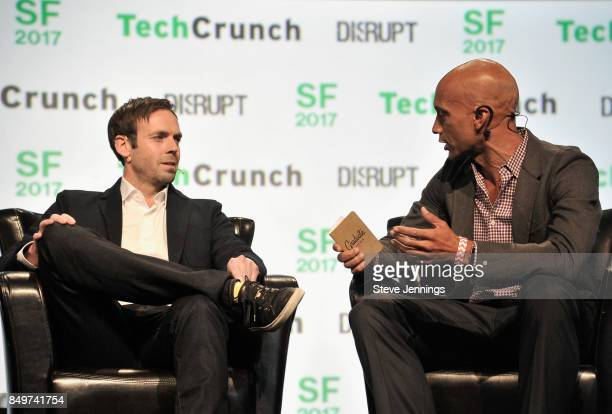 Citizen Founder and CEO Andrew Frame and MACRO Ventures CoFounder Adrian Fenty speak onstage during TechCrunch Disrupt SF 2017 at Pier 48 on...