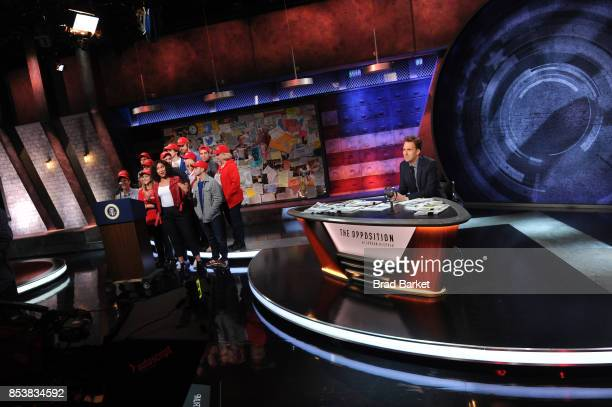 Citizen journalist Niccole Thurman and comedian Jordan Klepper appear onstage during the premiere of Comedy Central's The Opposition w/ Jordan...