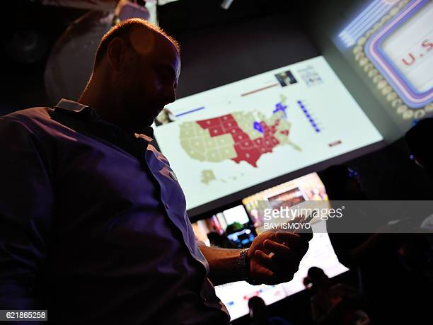 A US citizen looks at his phone past a US electoral map as he and others wait for the results of the country's presidential election during an event...