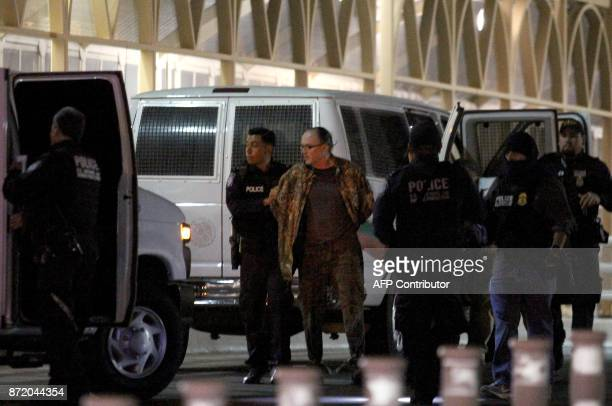 US citizen Orson William Black is delivered by the Mexican authorities to the United States police and Customs Border Protection on the border line...
