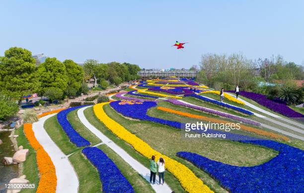 Citizens and tourists enjoy flowers in the Green Expo Park, Nantong City, Jiangsu Province, China, April 15, 2020. - PHOTOGRAPH BY Costfoto /...