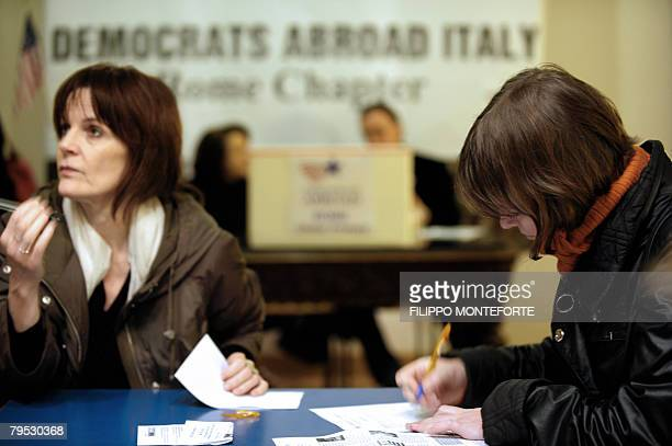 Citizens cast their vote at a polling station in downtown Rome, February 5 set by Democrats party supporters for the Democratic Primary election on...