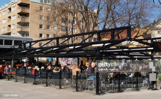 Citizens enjoy a sunny day outside in Stockholm, Sweden on April 04, 2020. No lockdown, no quarantines are imposed in the country against the...